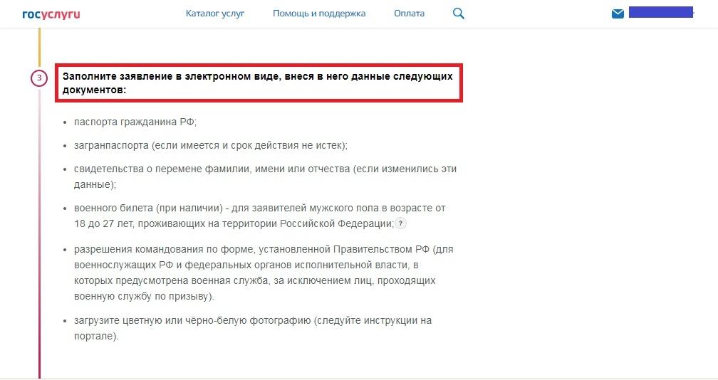 Заполнение заявления на получение загранпаспорта в электронном виде