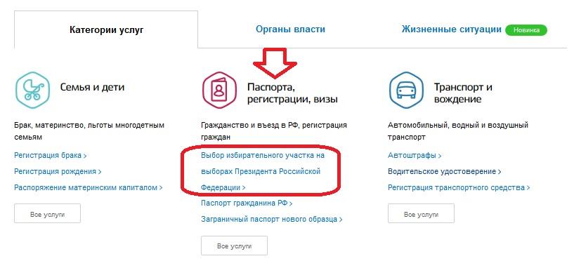 Выбор избирательного участка на выборах Президента Российской Федерации