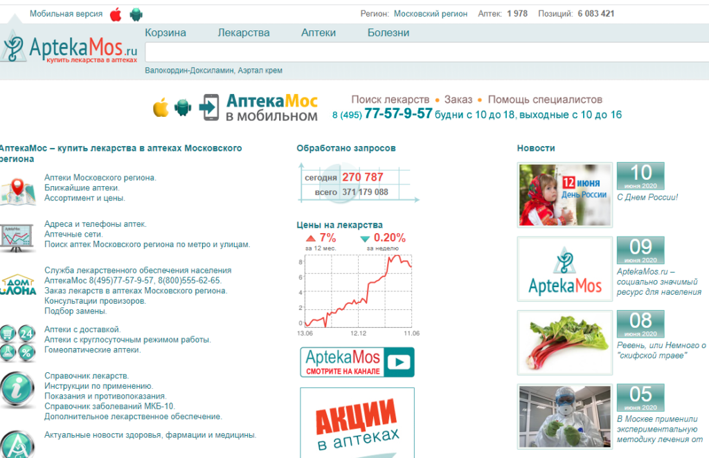 Главная страница Аптека.Мос.ру